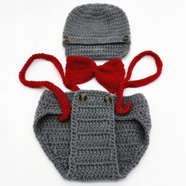 GRAY Yarn Knitted Pilot Baby Photography Prop Costume Set