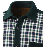 Color Block Plaid Pocket Design Turn-Down Collar Fleece Shirt deal