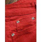 Pocket Rivet Knee Zippers Denim Red Jeans deal