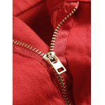 Pocket Rivet Knee Zippers Denim Red Jeans for sale