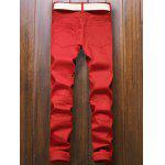 cheap Pocket Rivet Knee Zippers Denim Red Jeans