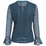 Buy Keyhole Metal Button Embellished Lace Bell Sleeve Blouse M LIGHT BLUE