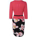 Floral Knee Length Pencil Fitted Work Dress - ROSE MADDER