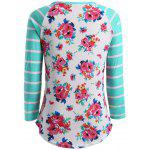 cheap Flower Print Striped Patchwork T-Shirt