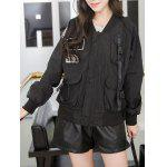 cheap Letter Patch Mesh Spliced Baseball Jacket