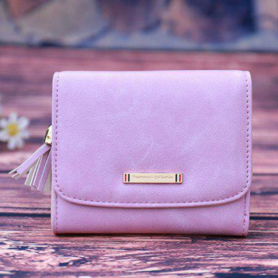 PU Leather Tassel Metal Small Wallet
