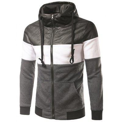 PU-Leather Spliced Hooded Color Block Zip-Up Hoodie