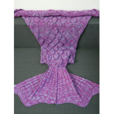 Buy LIGHT PURPLE S Crochet Knitting Fish Scales Design Mermaid Tail Style Blanket for $13.10 in GearBest store