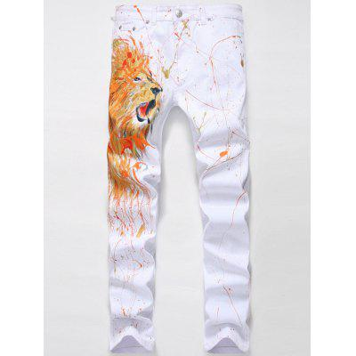 Zipper Fly Splash-Ink Lion Print Straight Leg Jeans