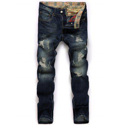 Buy DEEP BLUE Straight Leg Broken Hole Design Jeans for $34.23 in GearBest store
