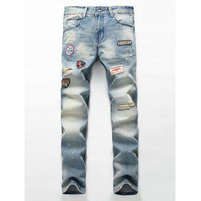 Patch Design Ripped Light Jeans