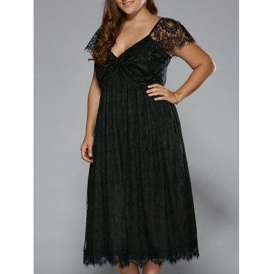 Buy BLACK Plus Size Low Cut Empire Waist Lace Prom Dress for $29.22 in GearBest store