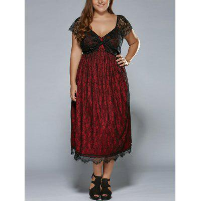 Buy RED Plus Size Low Cut Empire Waist Lace Prom Dress for $29.22 in GearBest store