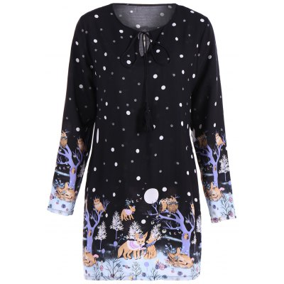 Plus Size Polka Dot Cartoon Print Dress