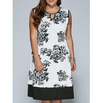 Cut Out Sleeveless Print Dress