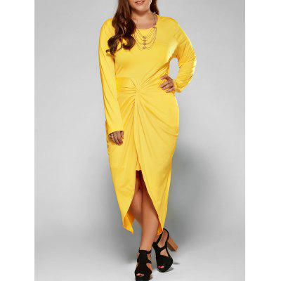 Buy YELLOW Plus Size Twist Front Tulip Dress for $24.74 in GearBest store