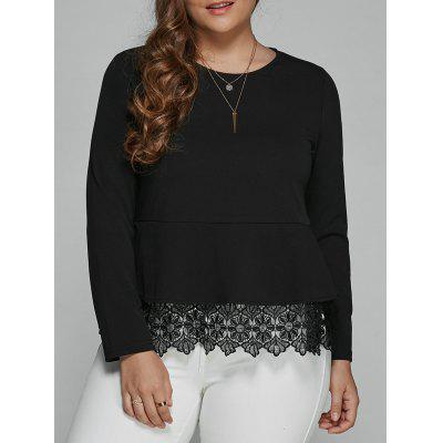 Buy BLACK Plus Size Long Sleeve Lace Spliced Blouse for $31.60 in GearBest store