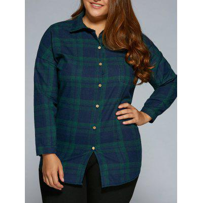 Plus Size Long Sleeve Plaid Flannel Shirt