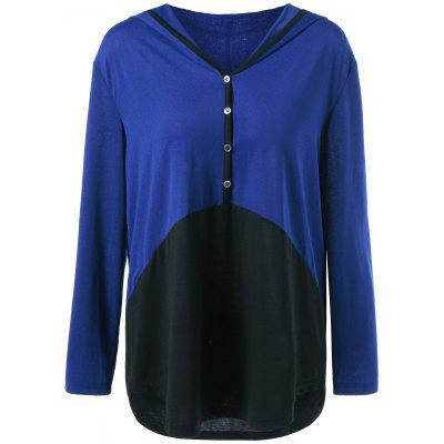 Plus Size Single Breasted High Low Hoodie