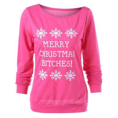 Buy ROSE RED Merry Christmas Bitches Graphic Sweatshirt for $5.21 in GearBest store