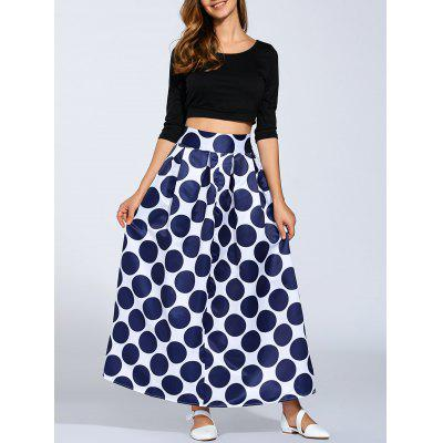 Buy PURPLISH BLUE High Waist Polka Dot Maxi Skirt for $19.70 in GearBest store