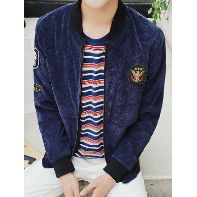 Stand Collar Patch Design Zip Up Jacket