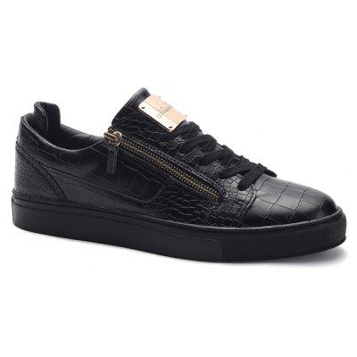 Round Toe Zip Embellished Crocodile Embossed Casual Shoes
