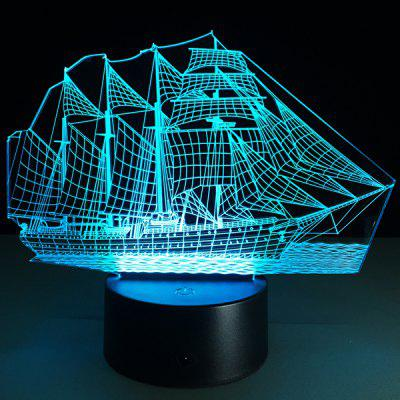 Sailing Ship Shape Touch Colorful Night Light