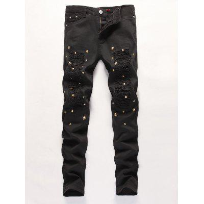 Frayed Rivet Embellished Zipper Fly Ripped Jeans
