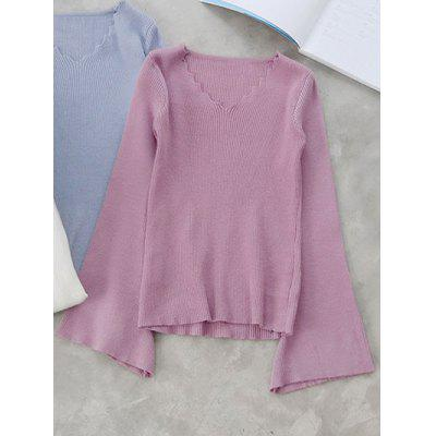Scalloped V Neck Flare Sleeve Knitwear