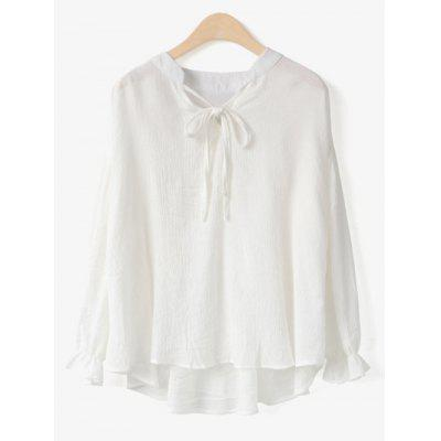 White V Neck Long Sleeve Chiffon Blouse ONE SIZE-$22.17 Online ...