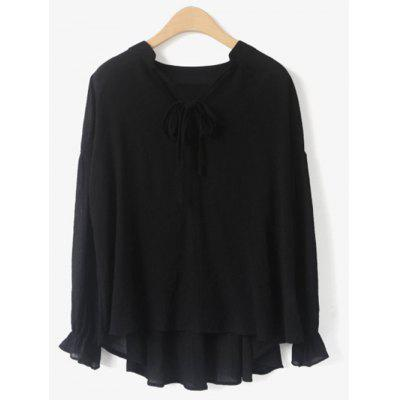 V Neck Long Sleeve Chiffon Blouse