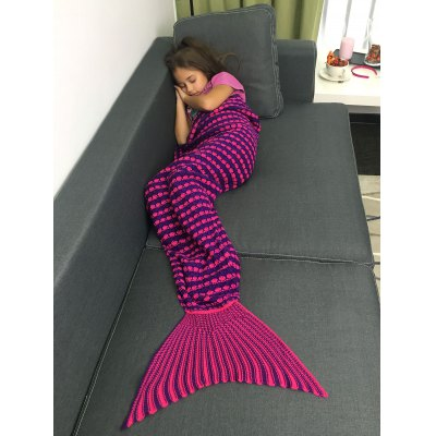 Color Block Crochet Knitting Fish Scales Design Mermaid Tail Style Kids' Blanket