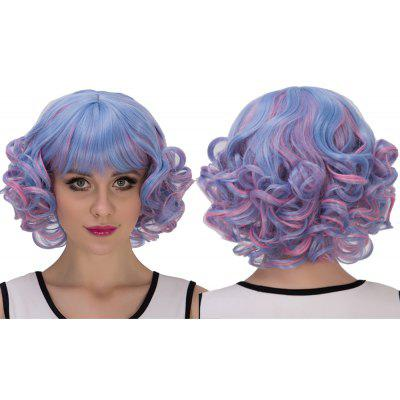 Buy COLORMIX Blue Mixed Pink Short Full Bang Curly Cosplay Synthetic Wig for $18.16 in GearBest store