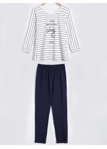 Casual Stripe Cotton Sleepwear Sets