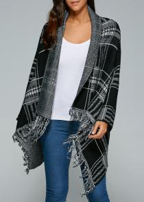 Shawl Collar Checked Cape Fringed Overcoat