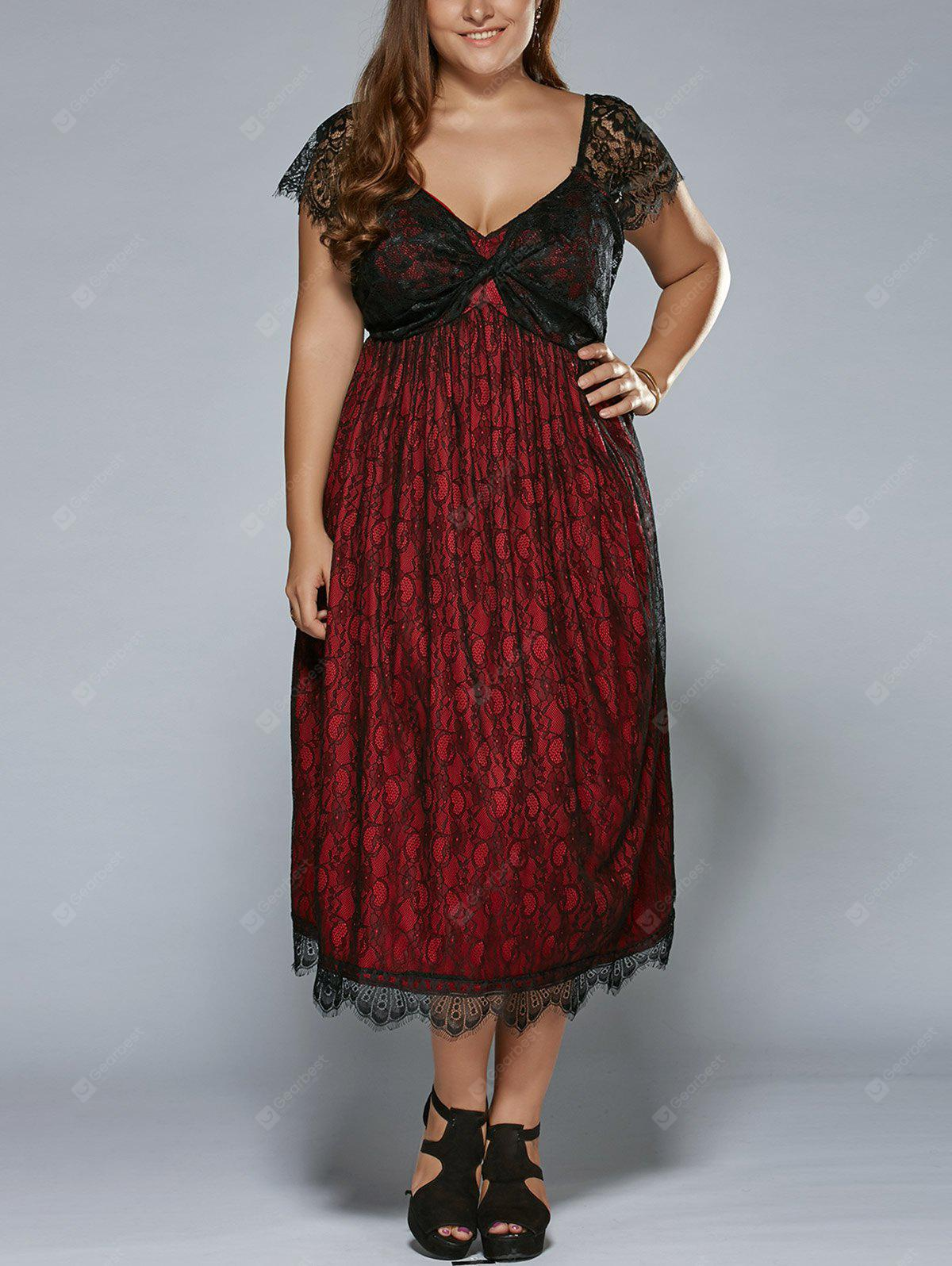RED Plus Size Low Cut Empire Waist Lace Prom Dress