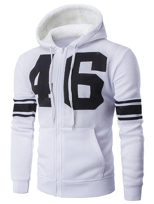 Number 46 Print Hooded Varsity Stripe Zip-Up Hoodie