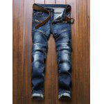 Zippered Scratched Rib Paneled Biker Jeans