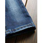 Zippered Scratched Rib Paneled Biker Jeans photo