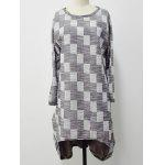 Checkered Imprimer Haut Bas Plus Size Dress - GRIS