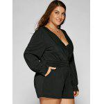 Plus Size Long Sleeve Surplice Romper deal