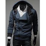 Street Style Side Zipper Studs Long Sleeves Men's  Polyester Hoodies - DEEP BLUE