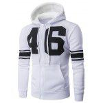 Number 46 Print Hooded Varsity Stripe Zip-Up Hoodie - WHITE