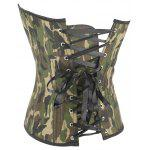 Camo Lace Up Steel Boned Strapless Corset Top - CAMOUFLAGE