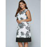 cheap Sleeveless Cut Out Plus Size Print Dress