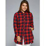 Plus Size Slit Long Sleeve Checkered Plaid Shirt photo