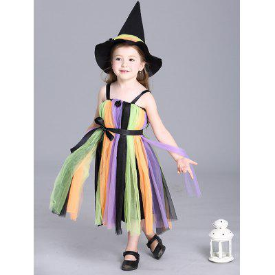Kids Spaghetti Strap Maxi Halloween Rainbow Color Dress