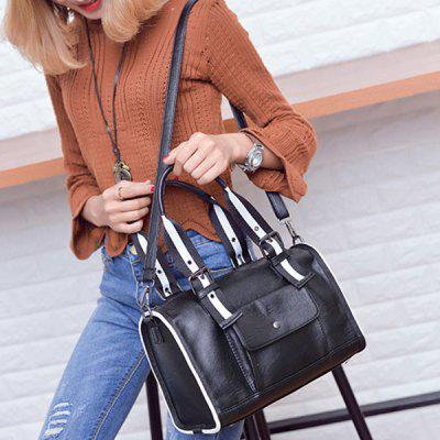 Striped Pattern Two-Tone Buckles Tote Bag