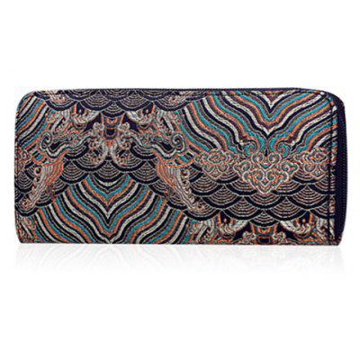 Embroidery Striped Pattern Wallet